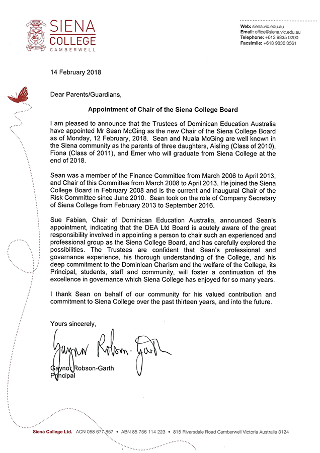 Appointment Of Chair Of The Siena College Board15 February 2018